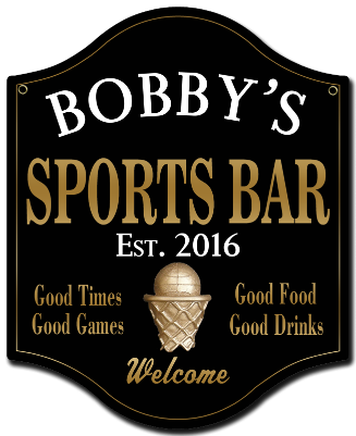 Personalized Sports Bar Sign Basketball 2 - Metal