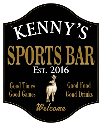 Personalized Sports Bar Sign with Deer 2 - Metal