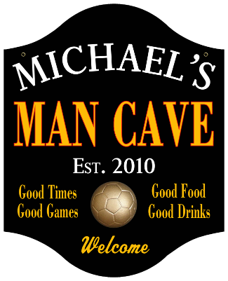 Personalized Man Cave Sign Soccer - Metal