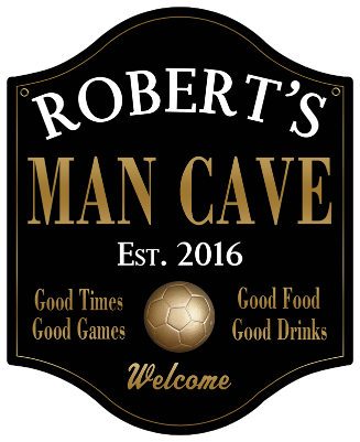 Personalized Man Cave Sign Soccer 2 - Metal