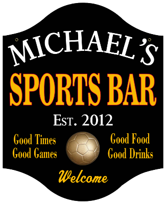 Personalized Sports Bar Sign Soccer - Metal