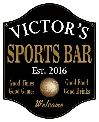 Personalized Sports Bar Sign Soccer 2 - Metal