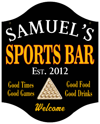 Personalized Sports Bar Sign Billiards - Metal