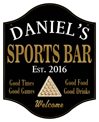 Personalized Sports Bar Sign Billiards 2 - Metal