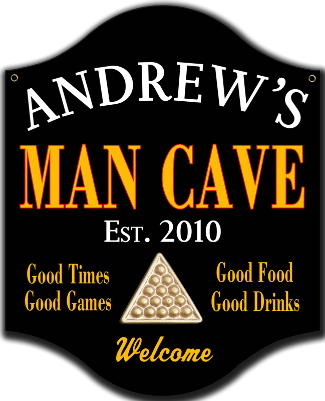 Personalized Man Cave Sign Billiards Metal