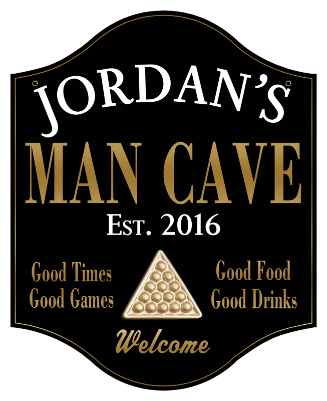 Personalized Man Cave Sign Billiards 2 - Metal