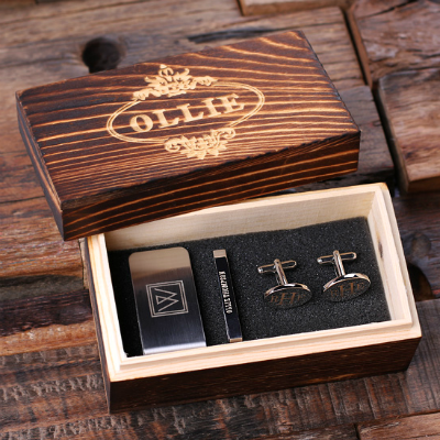 Personalized Cufflinks, Money Clip, Tie Bar Gift Set