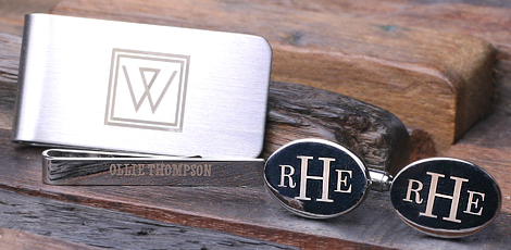 Personalized Cufflinks, Money Clip, Tie Bar - Close Up