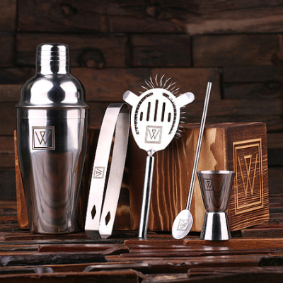 The Ideal Gift for Cocktails Personalised Engraved 5 piece Cocktail Shaker Set