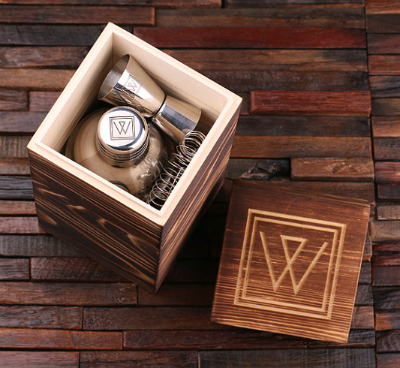 Engraved Wooden Box - Personalized Bar Tools & Cocktail Shaker Gift Set