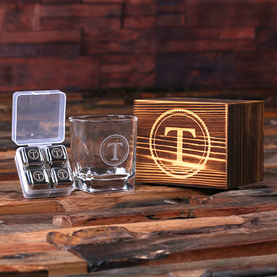Personalized Whiskey Glass Gift Set - Monogrammed