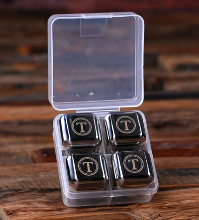 Stainless Personalized Ice Cubes - Personalized Whiskey Glass Gift Set - Monogrammed