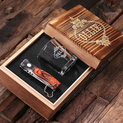 Personalized Pocket Knife & Shot Glass Gift Set