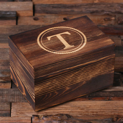 Engraved Wooden Box - Personalized Double Whiskey Glass Gift Set - Monogrammed