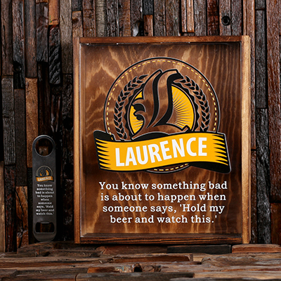 Personalized Beer Cap Shadow Box & Free Personalized Bottle Opener