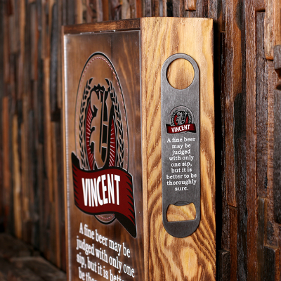 Store Personalized Bottle Opener on the side of the beer cap shadow box