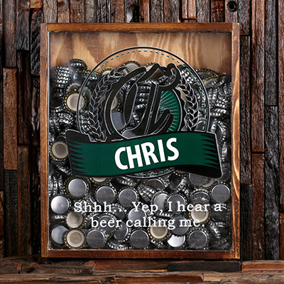 With Beer Caps - Personalized Beer Cap Shadow Box