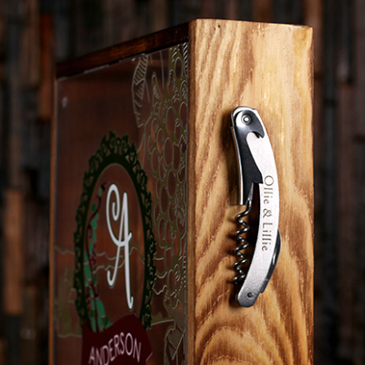 Store Personalized Corkscrew on the side of the wine cork shadow box