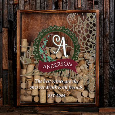 With Wine Corks - Personalized Wine Cork Shadow Box