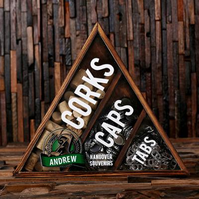 Personalized Wine Cork, Beer Cap, & Beer Tab Shadow Box
