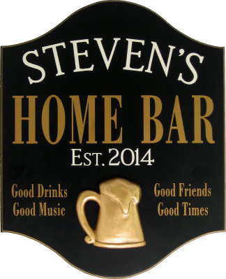 Personalized Home Bar Sign with a 3D Gold Beer Mug Relief