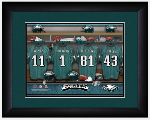 Sample of the Personalized NFL Locker Room Sign - Framed & Matted