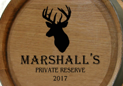Personalized Private Reserve Mini Oak Barrel with Deer