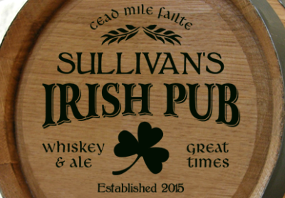 Personalized Irish Pub Mini Oak Barrel