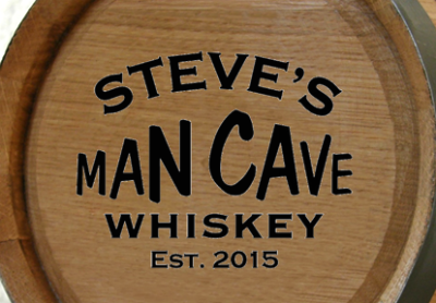 Personalized Man Cave Mini Oak Barrel with Liquor Choice