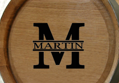 Personalized Classic Monogram Mini Oak Barrel