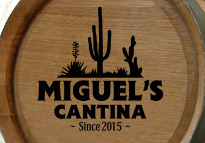 Personalized Cantina Mini Oak Barrel