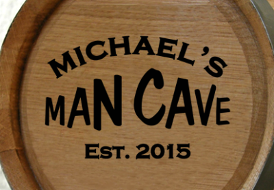 Personalized Man Cave Mini Oak Barrel with Established Date