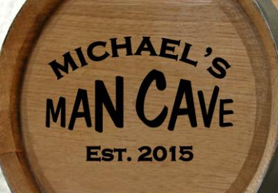 Personalized Man Cave Mini Oak Barrel with Established Date
