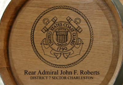 Personalized Mini Personalized Mini Oak Barrel - Coast GuardOak Barrel - Coast Guard - Close Up