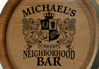 Personalized Neighborhood Bar Small Oak Barrel - Lions Crest