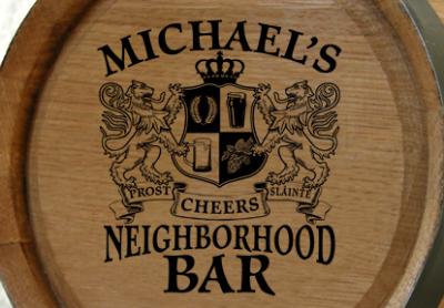 Personalized Neighborhood Bar Small Oak Barrel - Lions Crest
