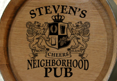 Personalized Neighborhood Pub Small Oak Barrel - Lions Crest