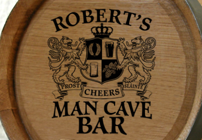 Personalized Man Cave Bar Small Oak Barrel - Lions Crest