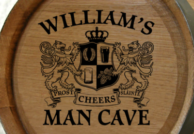 Personalized Man Cave Small Oak Barrel - Lions Crest