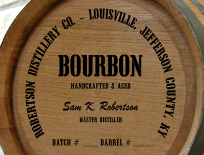Personalized Mini Oak Barrel - Bourbon Distillery Warehouse - Close Up