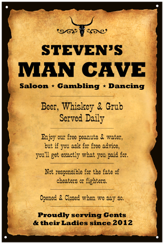 Personalized Man Cave Western Vintage Metal Sign