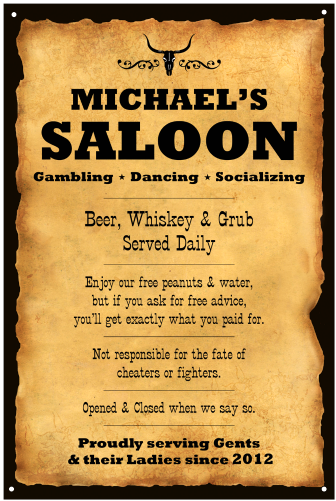 Personalized Western Saloon Vintage Metal Sign