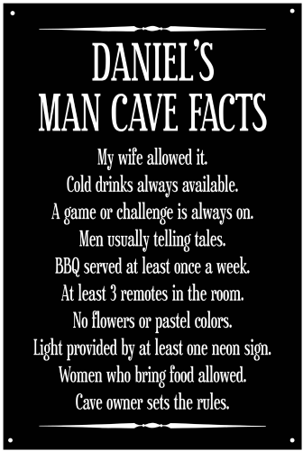 Personalized Man Cave Facts Metal Sign