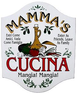Mammas Cucina Italian Wall Sign - Mangia