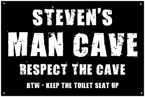 Personalized Man Cave Vintage Metal Sign - Respect the Cave