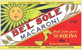 Bel Sole Macaroni Label Vintage Italian Wall Sign
