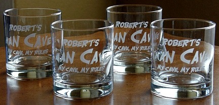 Personalized Man Cave - My Cave, My Rules Double Old Fashioned Glasses