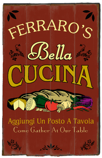 Personalized Bella Cucina Planked Wood Sign - LARGE