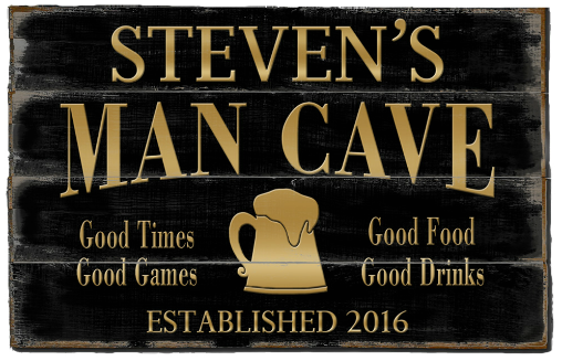 Personalized Man Cave Planked Wood Sign - Gold Beer Mug - LARGE