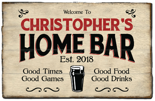 Personalized Home Bar Planked Wood Sign - Beer - LARGE